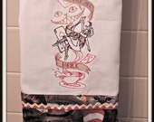 We're all mad here, Alice in Wonderland Towel, Crazy cat Lady towel, Cat embellished towel