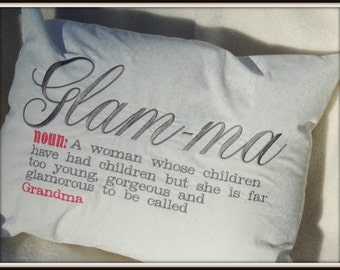 Too Glamorous to be a Grandma Glamma, Glam-ma pillow, pregnancy reveal to grandparents, dictionary pillow, personalized grandma pillow,