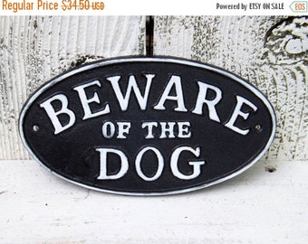 SUMMER SALE Cast Iron Beware of Dog Sign~Outdoor Sign~Black and White Beware of the Dog Sign~Outdoor Dog Sign