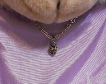 Standard Build A Bear Tiny Heart Silver Tone Charm Necklace