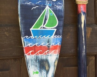 Oar Paddle Art Sign ONE Hand Painted Sailboat OR Anchor Coastal Nautical Beach House Lake Cottage Decor By CastawaysHall - Ready to Ship