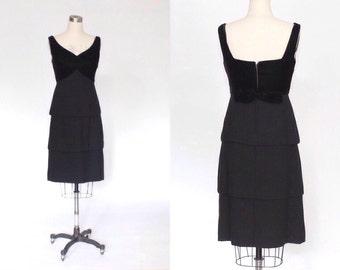 SALE // 1950s Black Cocktail Dress with Tiered Skirt & Velvet Bodice // 50s Vintage Formal Knee Length Dress // Small