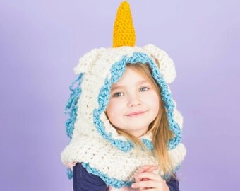 Unicorn Hoodie, Hood, Crochet Cowl, Unicorn, Hat, Winter