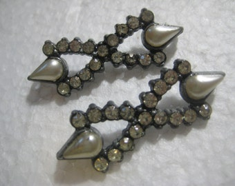"""Vintage 1930's Faux Pearl and Rhinestone Sew On Trim Decorations, Hat Supply, Dress Trim, Sewing Supply, Silvertone,  1 1/2"""" x 1/2"""", 2 Pcs."""