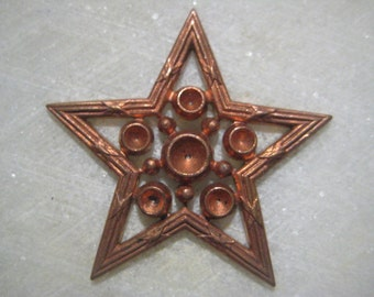 Vintage Star Finding; Celestial Light of the Sky, Detailed Open Work Die Struck Brass Finding with Stone Setting Spaces, 32mm size, 1 Piece