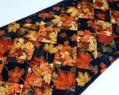 Fall Quilted Table Runner with Turning Leaves, Autumn Quilted Table Topper, Fall Leaves Table Quilt, Thanksgiving Runner, Black Gold Rust