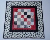 Valentine Quilted Table Topper, Quilted Table Runner, Table Topper, Black White Grey Red, Valentine Hearts