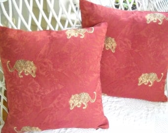 """pair of red damask pillow covers with leopards   16 """" square"""