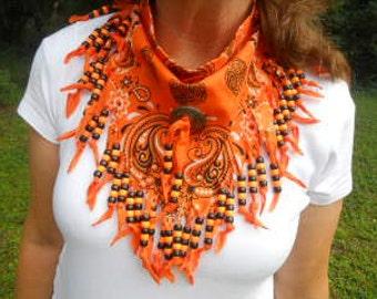 Bandanas, Halloween Neck Scarf, Wearable Art, Boho, Western Wear,