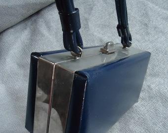 Navy Blue Small BOX Vintage 1960's MOD Vinyl Handbag PURSE