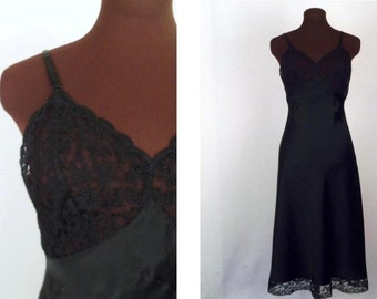 Vintage 40's Full Slip in Black Silk Charmeuse Lace Bodice and Trim Bias Cut Heavenly Silk by Fischer Size S / Small