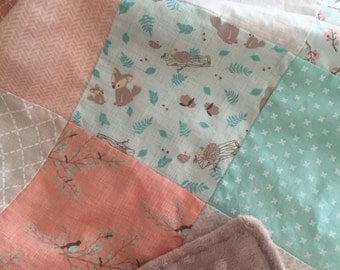Woodland Baby Quilt, Crib Quilt, Woodland Nursery, Toddler Girl Quilt, Big Girl Room, Coral, Mint, Tan, Lullaby Fabric