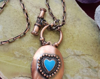 Copper Heart Locket with Toggle Clasp