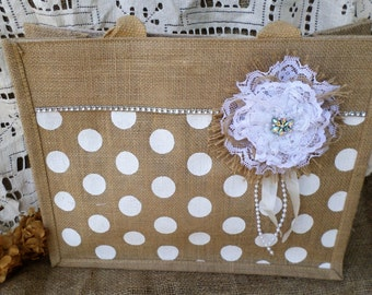 Large Burlap Tote With Handmade Flower