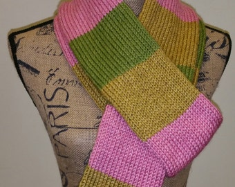 Gold, green, and pink scarf