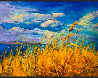 Original Seascape Painting on Canvas-Summer-Modern Seascape Fine Art Oil Painting On Canvas By Ivailo Nikolov-SIZE: 26''x 20