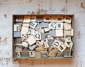Vintage Anagram word game, vintage anagram letters, vintage art supplies, vintage letters