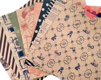 Scrap Pack - origami paper, 12 kraft papers with pattern front and back