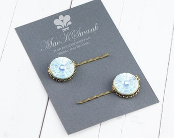 Light Blue Vintage Hair Pin  - Gift Under 15 - Czech Glass Vintage Earring - Gift for Her - Unique Hair Pin - Bridesmaid Gift