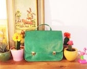 Green leather backpack, Liberinabags green handbag for women, green leather women's purse