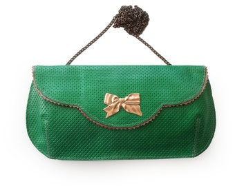 Free shipping Large Geen evening clutch bag, Bowtie leather purse,  green clutch purse with gold bowtie,