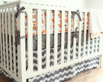 Dapper Fox Chevron Crib Bumper Bedding Set