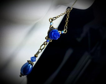 Royal Blue Pearl Victorian Earrings, Rose Dangle Drops, Antiqued Brass Filigree, Titanic Temptations Vintage Edwardian Bridal Style Jewelry