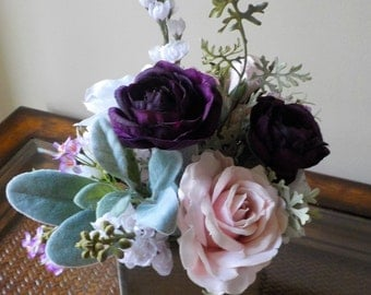 Wildflower Centerpiece, Pink Rose Centerpiece, Blush Pink Roses, Wedding Centerpiece, Garden Centerpiece, Lambs Ear and Roses, Purple