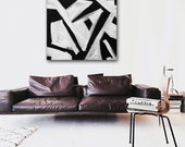 "36""x36"" Original Abstract Painting - Contemporary Wall Art Decor - black and white - geometric - minimal"