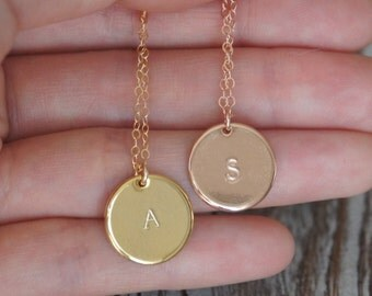 Personalized Necklace, Initial Necklace, Gold Disk Necklace, 14K Gold Filled, 15mm, Bridesmaid Gift, Birthday Gift, Christmas Gift