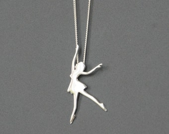 Sterling Silver Ballerina Necklace, Ballet Dancer Necklace, Birthday Gift, Children's Jewelry, Kids Jewelry, Girl's Gift