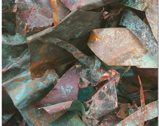Organically Aged Copper Scraps By The Ounce - Blue Green Rustic Red Copper Crafting Material - Metal Art Supplies - Scrapbooking Supplies