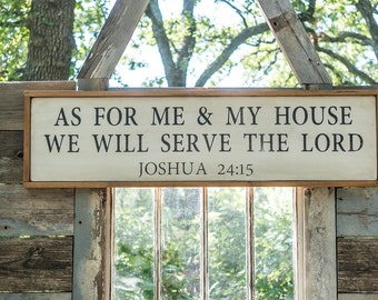 Large Farmhouse Scripture Wooden Sign Joshua 24:15, serve the lord, rustic farmhouse bible quote sign cottage decor neutral decor