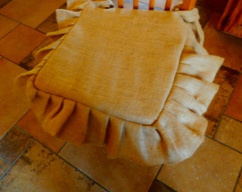 "French Grain Sack BURLAP Seat Cover --18 x 18 inch with 5"" tucked Ruffle"