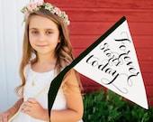 FOREVER STARTS TODAY Wedding Sign   Wedding Banner Small Flag   Flower Girl Ring Bearer Ceremony Photo Prop Flag Pennant Modern Script 1132