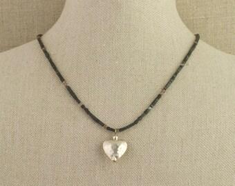 Heart Necklace Hammered Sterling Labradorite  Hematite Black Silver