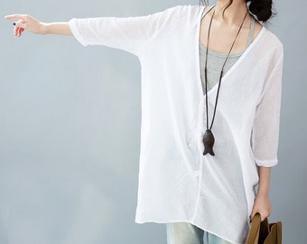 Loose Fitting thin sheer cotton Shirt Blouse for Women  -long sleeved - Women Clothing (R)