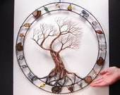 ReSerVed, NOT for sale, Metal Tree wall art, wire Tree Of Life Sculpture, Circle of Life Passage, gemstone tree wall decor, 19""