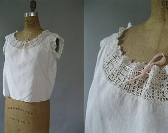 Edwardian Camisole - White Cotton Crochet Yoke  - Antique Plus Size