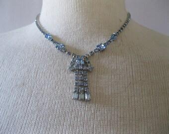 Vintage Rhinestone Necklace - 1950s Blue Sapphire Choker - Prom  Bridal Fashion