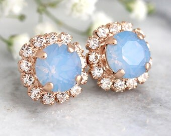 Blue Opal Studs, Blue Silk Earrings,Bridesmaids Blue Earrings,Rose Gold Earrings,Bridal Earrings, Powder Blue Studs,Bridal Blue Silk Studs