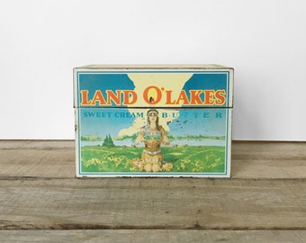 SHOP SALE! Vintage Land O' Lakes Recipe Box / 1970s / Advertising / Shabby Chic / Collectible / Rustic / Butter / Kitchen Organization