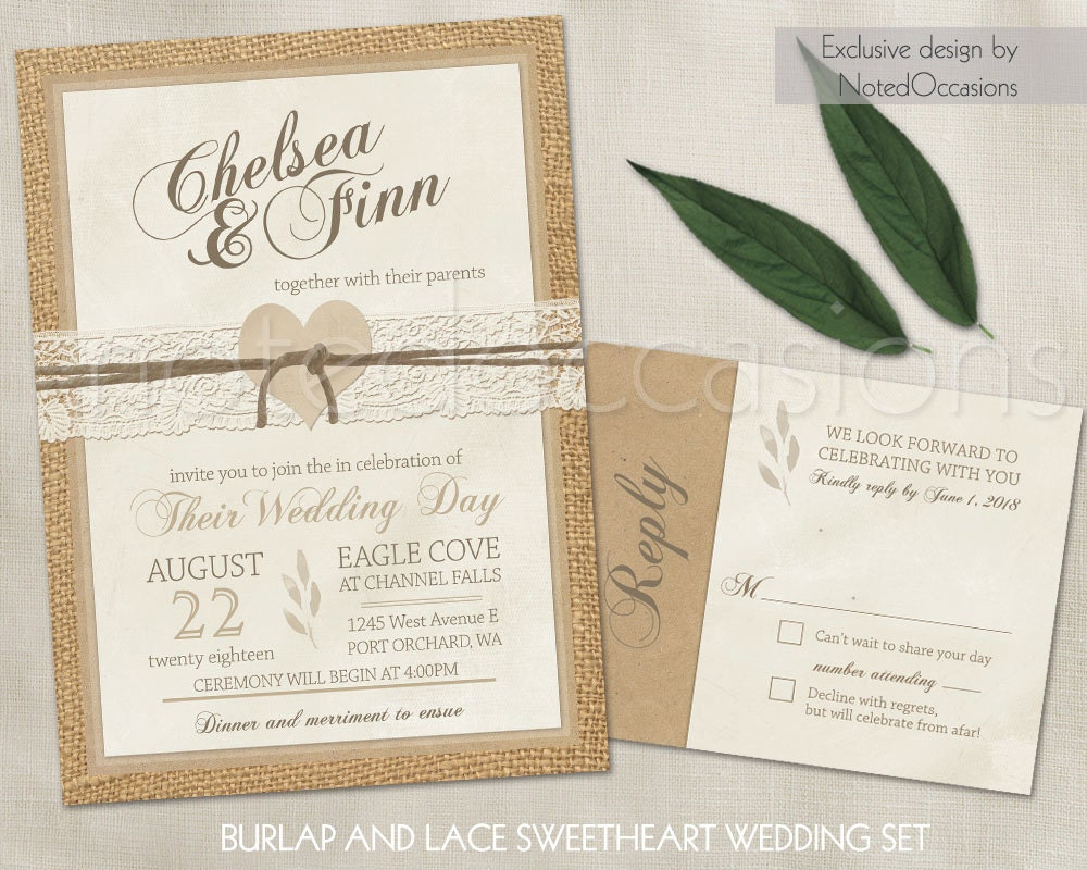 Wedding Invitations With Burlap: Rustic Wedding Invitations Set Rustic Burlap And Lace Country