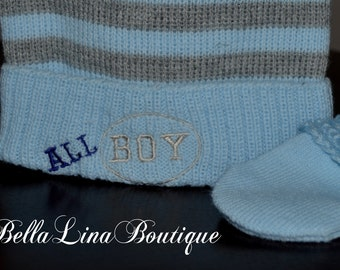 """Embroidered Knit AND Cotton Lined Baby Boy """"ALL Boy"""" Cap/Hat and Mitten Set - Baby Boy Cap and Mittens - NEWBORN to 6 mos - Ready to Ship!"""