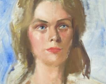 Vintage original portrait/woman portrait/ mid century artwork/ wall decor