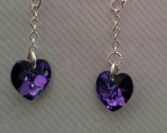 Swarovski Heliotrope Heart Earrings