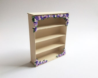 Dollhouse shelf unit in cream with lilac flowers to fit 1/12 scale