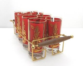 Modern Vintage Tumbler Set 8 Hi Ball Glasses Red Gold Metal Carrier w Wood Handles