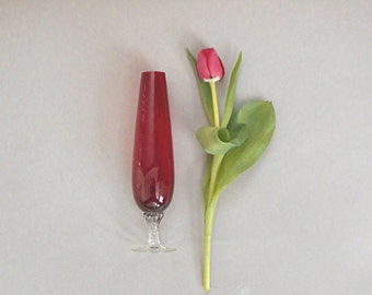 Vintage Red Glass Bud Vase Clear Twisted Stem Holiday Table Decor