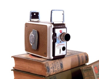 Vintage Movie Camera, Kodak Brownie collectable 8mm, With Original Leather Case, Gift For Him, Mid Century Styling
